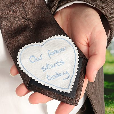 Custom wedding tie patch for the groom embroidered with you handwriting