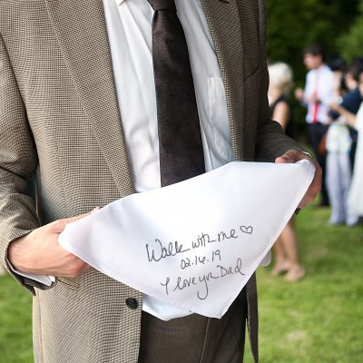 Father of the bride gift handwriting handkerchief